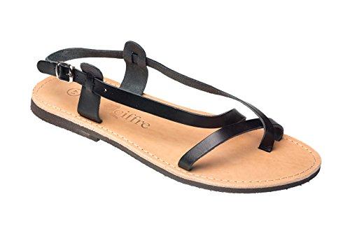Herren Echt Leder Sandale Sandalette Schwarz Griechenland Kreta Schwarz 44