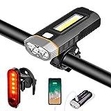 Luz Bicicleta Luces Bici Delantera y Trasera Faro LED USB Recargable Potente Linterna 4000 mAh 1000 Lumen Superbrillante IPX5 Impermeable 5 Modos, Iluminación de Cola y Destornillador Incluido