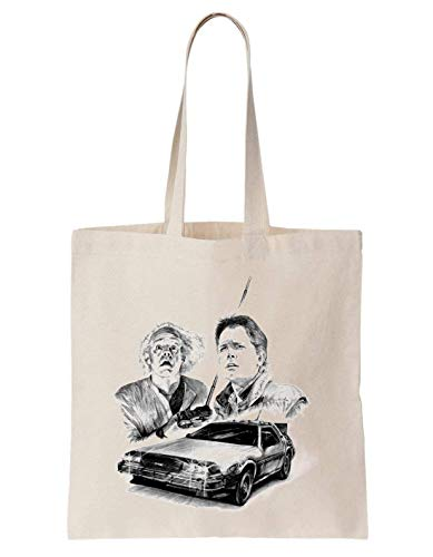 Back To The Future Logo Doc Marty And Car Schultertasche Tote Bag (Marty Und Doc)