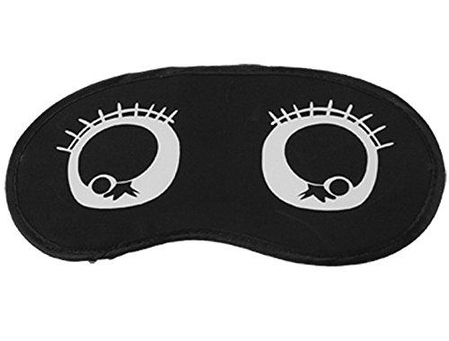 sourcing map Black Elastic Strap White Cartoon Eyes Pattern Eye Mask