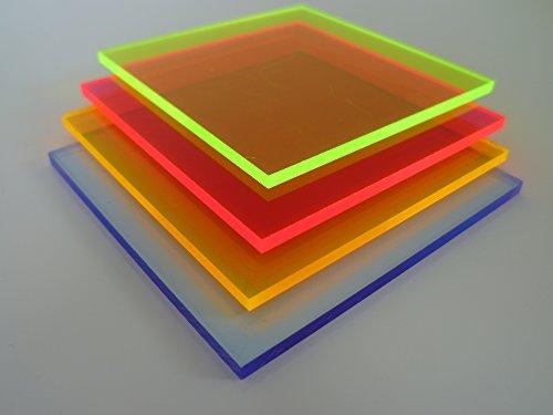 B&T Metall PMMA Acrylglas GS GRÜN fluoreszierend glatt 3,0 mm stark UV beständig beidseitig foliert im Zuschnitt Größe 40 x 40 cm (400 x 400 mm) (Überprüft Metall)