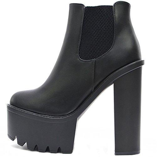 Vain Secrets Damen Chelsea Plateau Boots Stiefeletten mit Absatz Profil Sohle (40, Schwarz M5)