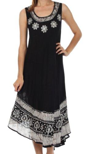 Sakkas A900 Batik Blume Kaftan Kleid/Cover Up - Schwarz/Weiß - One Size -