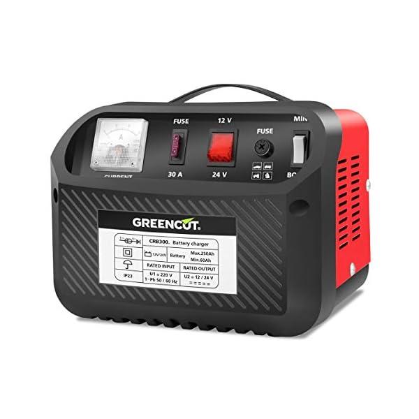 GREENCUT CRB300 – Cargador de batería de coche y moto multifunción de 12V/24V y 30A, cargador con opciones de Carga Rápida y Normal