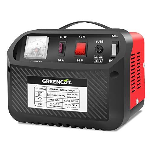 Greencut CRB300 Cargador de Bateria Multifuncion 12V/24 V 30 A para Coche y Moto, Rojo