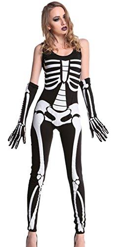 ett Kostüm Catsuit Jumpsuit Overall Halloween Karneval Damen L-Bust128cm (Skelett Catsuit Kostüm)
