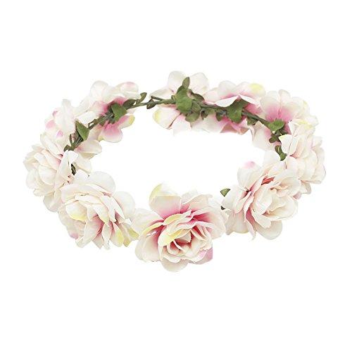 TININNA Frauen Mädchen Blume Bohemia Style Kopfschmuck Haarbänder, Blumenkrone Blumenkranz Blumen Stirnbänder Kopfband Kranz für Hochzeit Abendkleid Braut (Weiß Rosa) (Kind Kopf Kranz)