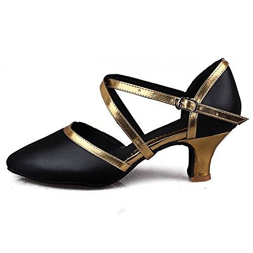 HROYL Damen Tanzschuhe/Latin Dance Schuhe Glattleder Ballsaal Modell-D5-515 Gold
