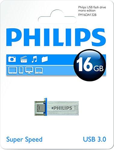 Philips Monocromo - Memoria USB 3.0 de 16 GB, color plateado