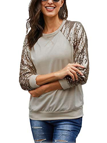 Tomwell Damen Glitzer Sweatshirts Oberteile T-Shirt Rundhals Clubwear Partywear Gestricktes Langarmshirts Khaki 40