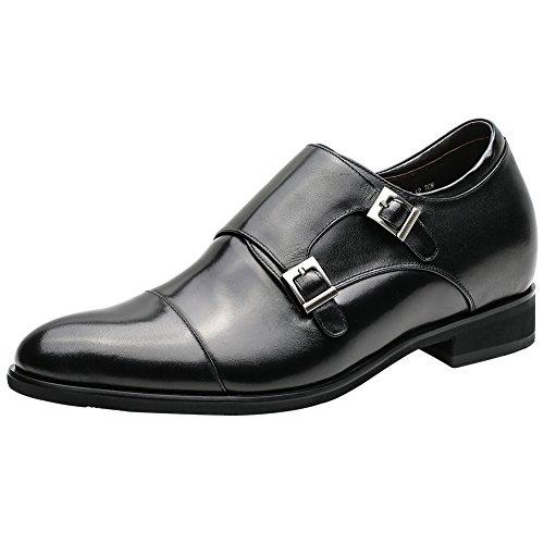 CHAMARIPA Herrenschuhe Höhe Zunehmende Leder Kleid Schuhe Schwarz-Taller 7cm Zoll - H81X92K071D