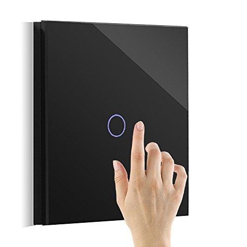 Touch Dimmer Lichtschalter Elektronischer Mit LED-Anzeige Schwarz Glas 1 Fach Wechselschaltung (Lichtschalter Installieren Dimmer)