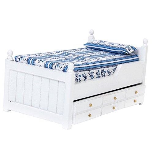 1/12 Puppenhaus Miniatur Schublade Bett Möbel Modell zwei Schichten Holz für Schlafzimmer
