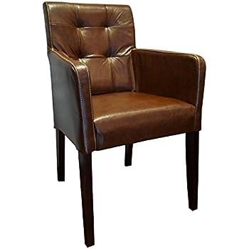 Stuhl Nelson Dark Esszimmerstuhl Vintage-Leder dunkelbraun