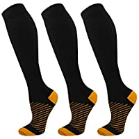 Copper Compression Socks For Men & Women-3 Pairs,15-30mmHg is Best For Running,Athletic,Medical,Pregnancy and Travel(01,S/M)