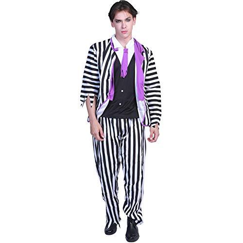 HSKS Halloween Kostüm für Erwachsene schwarz-weiß Anzug, geeignet für alle Arten von Maskerade-M
