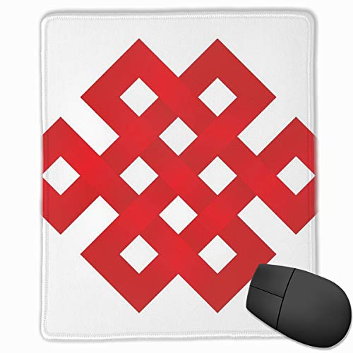 Mouse Mat Stitched Edges, Geometric Tangled Lines Forming Square Shapes Border Frame Motif With Zig Zag Details,Gaming Mouse Pad Non-Slip Rubber Base Magic Line Square