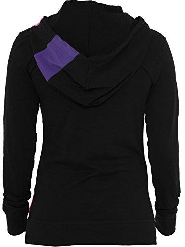Urban Classics Damen Kapuzenpullover Ladies Zig Zag Jersey Hoody blackrasta