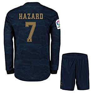 Eden Hazard ##7 2019-20 Real Madrid Full Sleeves Away Master Quality Jersey with Shorts/LA LIGA Patch/Club World Cup Logo (L)