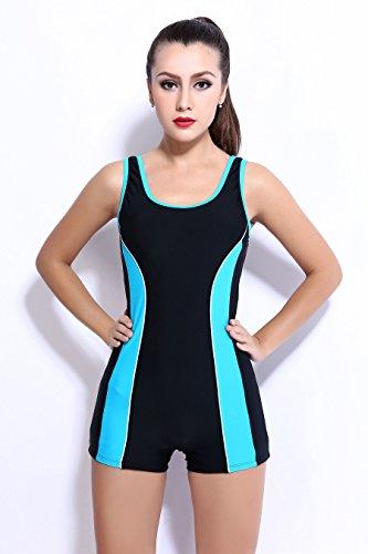 Asvert einteiliger Badeanzug mit Bannfarbe aus Nylon Vorgeformte BH-Cups für Damen Flat angle swimsuit ( Schwarz, Blau Rand ) Schwarz, Blau Rand