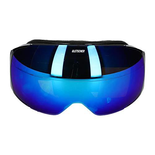 Skibrille Ski Brille Snowboardbrille Wechselscheibe Verspiegelt Antifog UV400 Schwarz/Blau