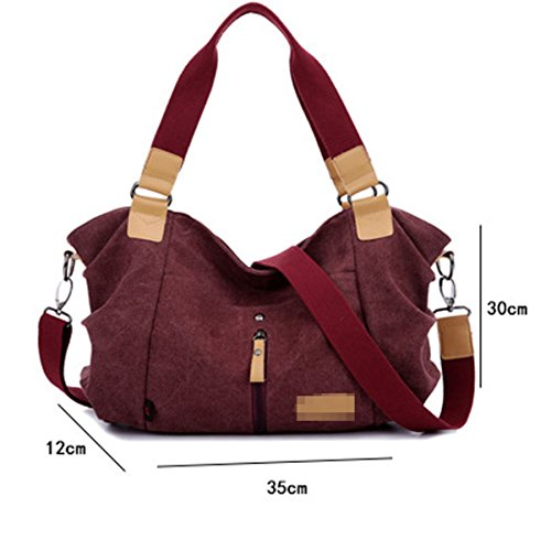 Donne Grandi Casual Tela Manico Superiore Spalla Sacchetto Crossbody Satchel Brown