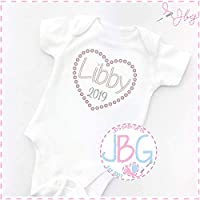 Personalised Embroidered Baby 2019 Vest/Onsie, Baby Shower/New Baby Gift, Girls heart Grow