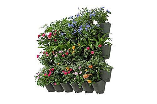 Worth Garten 12 Set Selbstbewässerung Vertikal PflanzenwandBlumentöpfe für Balkon Terrasse Innenhof und Hinterhof, Platzsparend, einfaches Stecksystem, Olive Grün