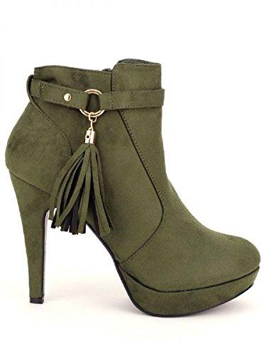 Cendriyon, Lows Boots Kaki simili peau VIVI Chaussures Femme Kaki