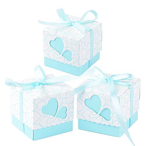 Qumao (5*5*5cm) 100 pz scatole portaconfetti di carta, incluso nastrino, bomboniere regalo segnaposti decorazioni per festa matrimonio battesimo compleanno (celeste)