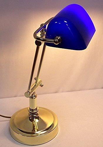 Edle Alt Britische Banker Lampe, Bankerslampe, Messing, blauer Glasschirm