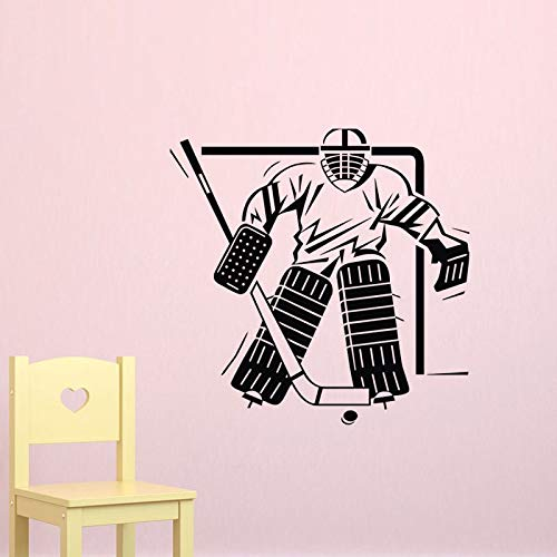 Décoration de la maison Stickers Muraux Hockey Sur Glace Gardien De But Autocollant Murales Vinyle Art Stickers Amovible 59X59CM