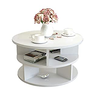 Moderner Couchtisch-runder Ablagetisch-Nachttisch-Kabinett-Versammlungs-Schwarz-rosa weiße helle Nuss (Farbe : Weiß)