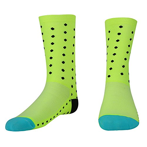 Filfeel Calze da Ciclismo Uomo Donna Calzini Sportivi Calf Running Socks 3D Assorbimento del Sudore in Nylon Traspirante Moda Professionale(Verde Fluorescente)