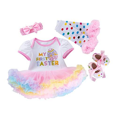 4Pcs Baby-Ostern Outfit Ostereier Spielanzug-Kleid Stirnband Beinlinge Schuhe Set für Säugling Babys 59cm Rosa