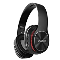 Ni_ka Bluetooth 5.0 Headphones, L350 Foldable Stereo Wireless Headset Over Ear with Microphone and Volume Control,Foldable Wireless and Wired Headphones for PC/Cell Phones/TV/Ipad (Black)