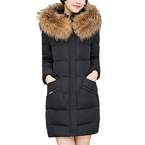 Dorical Daunenjacke Damen Winterjacke Wintermantel Lange Daunenjacke Jacke Outwear Frauen Winter Warm Daunenmantel Solide Lässig Dicker Winter Slim Down Lammy Jacke Mantel(Schwarz,XX-Large) -
