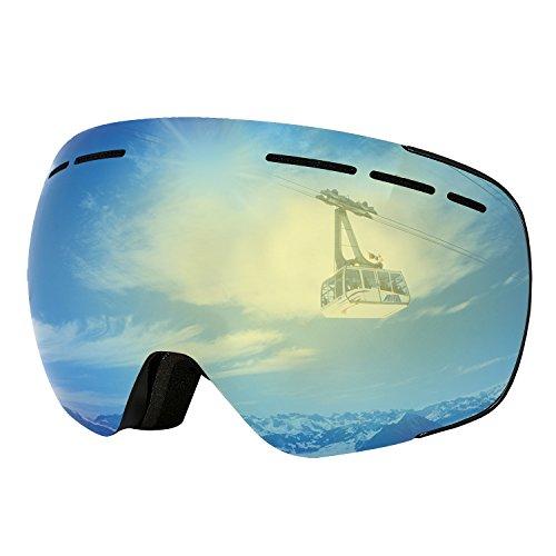 Skibrille Herren Snowboardbrille Damen für OTG brillenträger Ski Snowboard Brille Dual-Vented verspiegelt mit F3 Anti-Fog UV400 polarisiert Skibrillen wechselgläser für Erwachsene (One Size, Gold (VLT 13%))