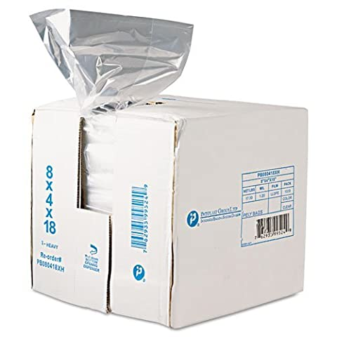 Inteplast Group Get Reddi Food & Poly Bag, 8 x 4 x 18, 8-Quart, 0.68 Mil, Clear, 1000/Case - Includes 1000 per case. by Inteplast Group