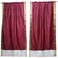 Mogul Interior 2 Indian Sari Curtain Drape Maroon Window Treatment Home Curtains