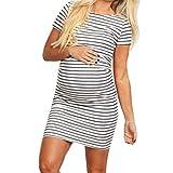 Damen Umstandskleid Rundhalsausschnitt Streifen Kurzarm Schwangere Kleid Frauen Mode Schöne Lässig T Shirt Kleid Schwangerschaftskleid Umstandsmode (Color : Streifen, Size : 3XL)