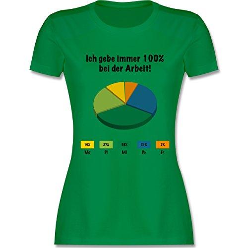 Sprüche - Ich gebe bei der Arbeit 100 Prozent - tailliertes Premium T-Shirt mit Rundhalsausschnitt für Damen Grün