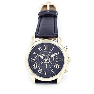 Amonfineshop(TM) Neue Damenmode Genf römischen Ziffern Kunstleder analoge Quarz-Armbanduhr