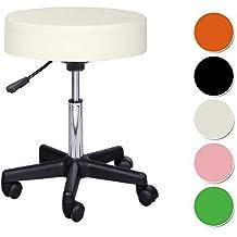 Crisnails® Taburete giratorio negro (Blanco)
