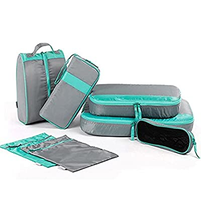 Aizbo 7 Set Packing Cubes Travel Organisers-2 Clothing Pouches + 2 Premium Bra Underwear Bag + 1 Digital Accessories Bag + 1 Toiletry Bags+1 Shoes Bag