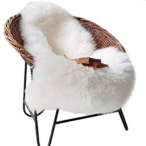 DAOXU Fell Lammfell Schaffell/Sheepskin Rug, Lammfellimitat Flauschigen Teppiche Imitat Kunstfell,Langes Haar Nachahmung Wolle Bettvorleger Sofa Matte (Weiß, 50x 80cm) (Schaffell-teppich)