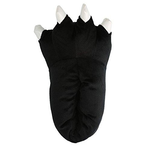 Pantofole zampa adulto unisex autunno inverno carino mostro addensare peluche dinosaur animali caldo slippers halloween (l (eu 36-45 ), nero)