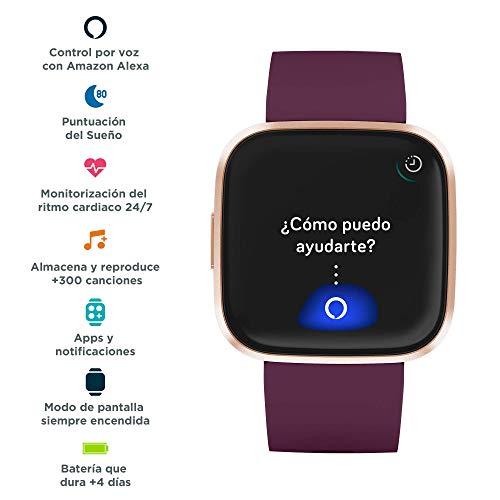 Echo Dot (3.ª generación) -  Altavoz Inteligente con Alexa,  Tela de Color Antracita + Fitbit Versa 2 Burdeos