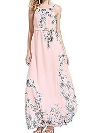 3615205b955bd Boho Vestido para Mujer - Moda Floral Bohemio Maxi Vestidos Largos Elegante  sin Mangas Vestido Ropa