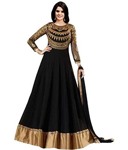 Feni Creation Women's Georgette Anarkali Suit(RJ_prachi_long_Black_harla Black Free Size)